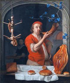 """""""A BACKER  BLOWING  his HORN """" Gabriël Metsu (Leiden, enero de 1629 - Ámsterdam, enterrado el 24 de octubre de 1667), fue un pintor neerlandés de la época barroca, autor de algunas obras de tema bíblico y de numerosas escenas de género, algunas de las cuales pueden ser interpretadas también como retratos.(Mt)"""