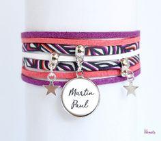Bracelet liberty médaille prénom texte - tissu torsten graphique - violet corail noir blanc - étoile métal