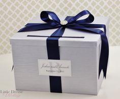 Wedding Card Box Silver Navy Blue  Money Holder by LittleDivine