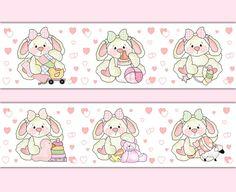 Pink Bunny Nursery Wallpaper Border Wall Art Decals Girl Woodland Animal Sticker #decampstudios