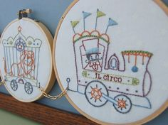Embroidery Patterns, IL CIRCO Hand Embroidery Patterns Vintage Inspired Circus Train Design, DIY Baby Gift or Nursery Decor. $6.00, via Etsy.