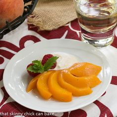 Riesling Poached Peaches with Mascarpone Cream | Poached Peach Recipe | #SundaySupper