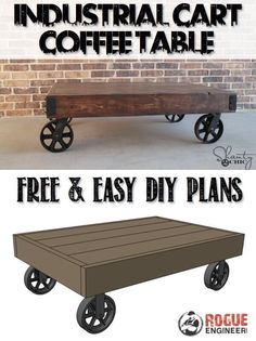 Industrial Cart Coffee Table | Free DIY Plans | rogueengineer.com #DIYcoffeetables #DIYplans