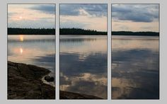 BWCA Triptych, 3 Panel Art, Three Canvas Series, Boundary Waters, Lake Landscape, Sunset Photography, Nature Split Panel, Reflection Art by HeartlandPhotoBySJW on Etsy https://www.etsy.com/listing/202596271/bwca-triptych-3-panel-art-three-canvas
