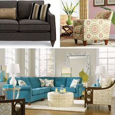 Laurel Sectional by La-Z-Boy Furniture Galleries® in fabric: Lucky Turquoise D996796 Pillow Fabric: Savanna Surf D996495
