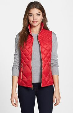 Packable Stand Collar Down Vest (Online Only) Black Vest Outfit, Puffer Vest Outfit, Red Puffer Vest, Red Vest, Vest Coat, Vest Outfits For Women, Casual Outfits, Clothes For Women, Comfortable Outfits
