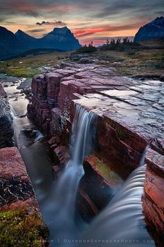 USA - Montana: Triple Falls, Glacier National Park.