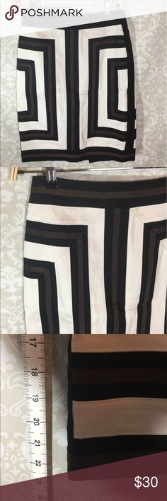 White House Black Market Pencil Skirt WHBM black brown and white Pencil Skirt.  Super cool and flattering pattern.  Size 2. Lined. Previously worn, cared for and loved. Please ask any question you might have.  Reasonable offers welcome.  Bundle for savings.  Thank you for shopping in my closet! White House Black Market Skirts Pencil
