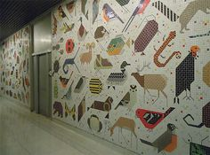 Charley Harper tile mural in the lobby of the Cincinnati Federal Building.