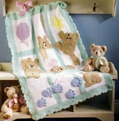 7 of the Best Baby Afghans Crochet Patterns Patterns include: Bears on My Blanket - Finished Size is X Skill Level, Intermediate Sugar Spun Blanket - Finished Size is in Diameter. Baby Afghan Crochet Patterns, Crochet Teddy Bear Pattern, Crochet Quilt, Crochet Bear, Baby Blanket Crochet, Free Crochet, Crochet Afghans, Crochet Blankets, Bear Blanket