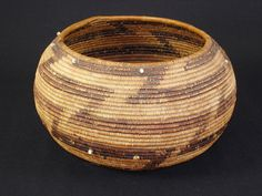 c. 1860s- Very Early Pomo Basket with trade beads. American Indian, Native American Basket