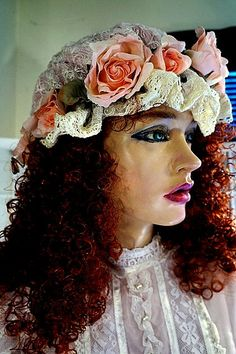 Bonnet Embroidered Organza Over Pink, Ruffle w/Cotton Crochet, Pink Rosebuds, Babies Breathe