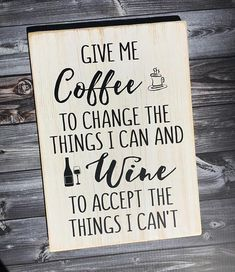 This sign is great for the coffee or wine lover. #coffee #wine #coffeebar #ad #winebar #bar #kitchen #homedecor #sign #wood