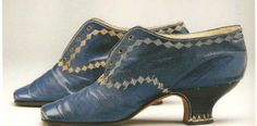 ~Blue kid leather shoes, French. c. 1868-1875~