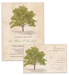Tree Rustic Wedding Invitation and RSVP 2-piece Suite by digibuddhaPaperie