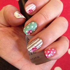 Cath Kidston floral stripe vintage nail art