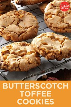 We can't say enough good things about these kitchen sink cookies. Between the chocolate, pretzels, toffee and that extra burst of sea salt, we're convinced it's one of our favorite cookie recipes of all time. Cookie Caramel, Butterscotch Cookies, Toffee Cookies, Cookie Brownie Bars, Toffee Dip, Butterfinger Cookies, Toffee Bark, Almond Toffee, Toffee Candy