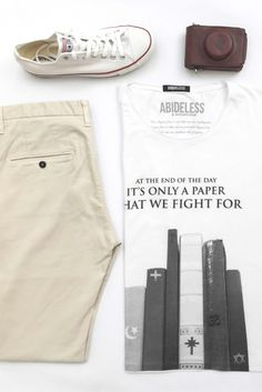 ABIDELESS is fashion brand which stands for powerful ideas expressed through high-quality, handmade T-Shirts which are quilted with detailed precision. Fashion Brand, Mens Fashion, Dope Style, Fight For Us, Fashion Essentials, For Everyone, Trust, Khaki Pants, Photoshoot