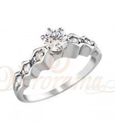Μονόπετρo δαχτυλίδι Κ18 λευκόχρυσο με διαμάντι κοπής brilliant - MBR_086