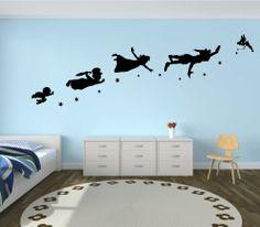 Peter Pan, Wendy, Tinkerbell, disney vinyl wall mural sticker decor
