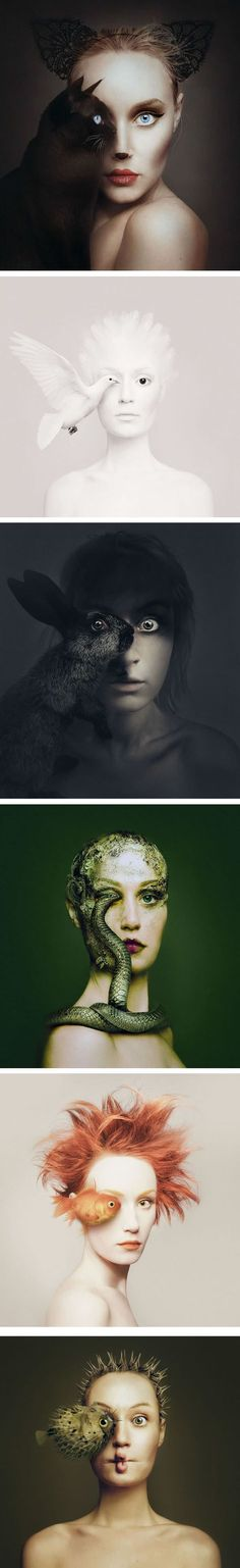 Artist Becomes One With Animals By Replacing Her Eye With Theirs (By Photographer Flóra Borsi) - portrait photography Conceptual Photography, Creative Photography, Portrait Photography, Surrealism Photography, Animal Photography, Creepy Photography, Experimental Photography, Photography Series, Hobby Photography