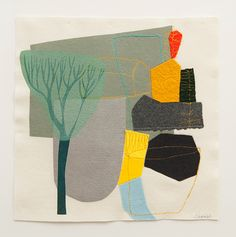 Maxine Sutton, Forms are hand drawn, paper cut, found or photographic, layered and collaged with abstract and semi figurative appliquéd, needle-punched and printed imagery