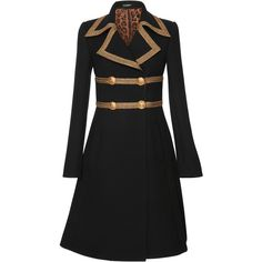 Dolce & Gabbana Gold-Trimmed Double-Breasted Coat (2.290.845 CLP) ❤ liked on Polyvore featuring outerwear, coats, jackets, coats & jackets, black, dolce gabbana coat, flare coat, shiny coat, double breasted coat and flared coats