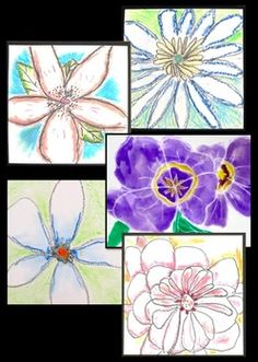 Shaded flowers art lesson inspired by Georgia O'Keeffe.  Observe, discuss, draw, read, and write. Includes informational text and student response worksheet.
