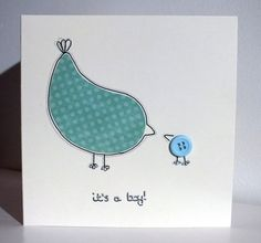 Its A Boy Its a New Baby Boy Card Handmade Blank Baby Congratulations Greeting Card Buttons Irish Bird Design with Button