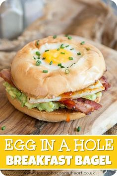 This Breakfast Bagel is loaded with Bacon, Halloumi, Avocado and Chilli Jam. Topped with an Egg in a Hole, this truly is the BEST Breakfast Bagel Recipe! Monte Cristo Sandwich, Bagels, Brunch Recipes, Breakfast Recipes, Egg Bagel Recipes, Cocktail Recipes, Egg In A Hole, Breakfast Desayunos, Bagel Breakfast Sandwich
