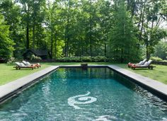 The pool area of Alexandra Champalimaud's Litchfield, Connecticut home. | Lonny