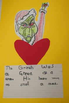 "Then I had the kids write similes comparing the Grinch and his heart to different things using the prompt, ""The Grinch was as __________ as _________.  His heart was as _________ as _________.""  They had to choose adjectives from our brainstorm charts and make up their own similes.  They LOVED this activity!!"