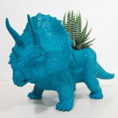 Max the Triceratops - toy dinosaur, repainted and planeted with a Zebra Haworthia succulent - by The Plaid Pigeon, $18