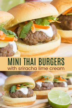 Mini Thai Burgers with Sriracha Lime Cream - these little Asian-inspired burgers have a big kick of flavor from simple pantry ingredients. An easy appetizer or dinner recipe that you can even serve on lettuce wraps for a gluten free or low carb option. Lime Cream, Dinner Recipes, Appetizer Recipes, Great Appetizers, Creamed Beef, Lettuce Wraps, Easter Dishes, Kale Chips