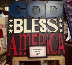 'God Bless America' Wooden Plaque/Cracker Barrel Old Country Store