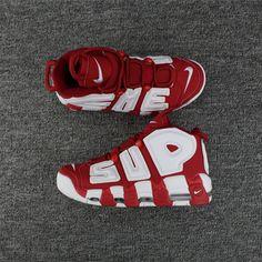 big sale 5570b b62e6 Supreme x Nike Air More Uptempo Varsity Rosso Bianca Moda Nike Air More  Uptempo, Unisex Nike Air More Uptempo