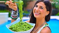 FullyRaw Pasta with Avocado Basil Pesto! You can use large carrots, beets, sweet potato, yellow squash, even apples. Aanything that the spiralizer can take can become noodles!