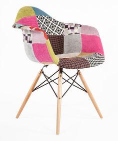 Look at this #zulilyfind! Pink & Gray Patchwork Mid-Century Arm Chair by Control Brand #zulilyfinds