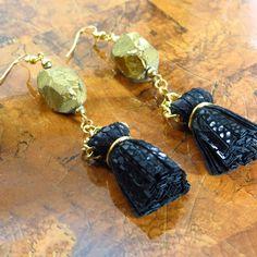 Tassel Earrings/ Leather Earrings/ Statement by ChandraJewelry