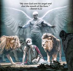 Absolute FAVORITE picture by the society showing Jehovah's angel protecting Daniel in the lion's den. -sh