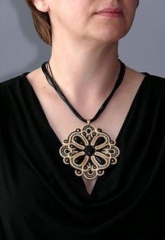 Beige  gold  black Soutache necklace with Onyx.