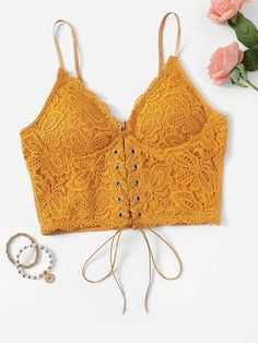 Shop Lace Up Front Crop Cami Top online. ROMWE offers Lace Up Front Crop Cami Top & more to fit your fashionable needs. Cami Tops, Cami Crop Top, Women's Tops, Lace Crop Tops, Romwe, Crochet Lace, Crochet Bikini, Camisole, Lace Bustier