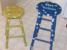 I make these stools with any colors you want and whatever name you want!