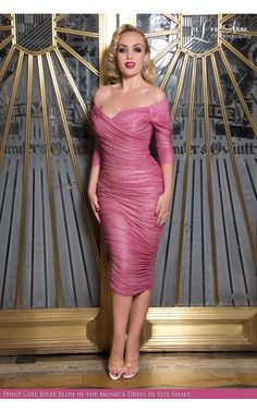 Laura Byrnes California - Monica Dress in Pink Lurex | Pinup Girl Clothing
