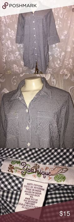 Black white checkered Rockabilly tunic button top Juniors size xl or women's size Large long tunic button down shirt. Super cute with black leggings.   ~ Bundle up & save on shipping!  Check out my other listings! ~ I am open to reasonable offers. ~I do my best to describe each item thoroughly.  ~I ship same day or next day.  ~ I do not hold items.   ~Not responsible for incorrect sizing. I go by what the tag says its up to the buyer to know their size. Younique  Tops Button Down Shirts