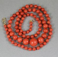 Antique Natural Mediterranean Red Coral Bead Necklace 14k CL Victorian Art Deco | eBay