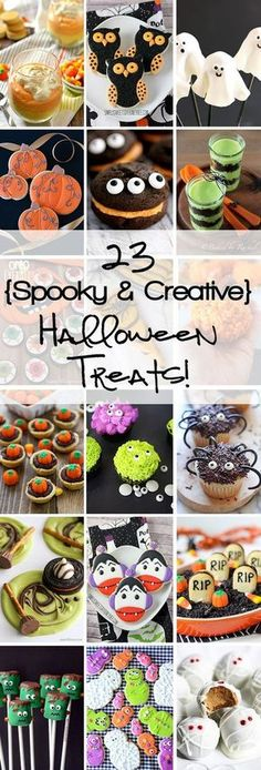 The post 23 Spooky & Creative Halloween Treats appeared first on Halloween Food. Halloween Desserts, Halloween Cupcakes, Hallowen Food, Postres Halloween, Halloween Dishes, Hallowen Ideas, Halloween Treats For Kids, Spooky Treats, Fete Halloween