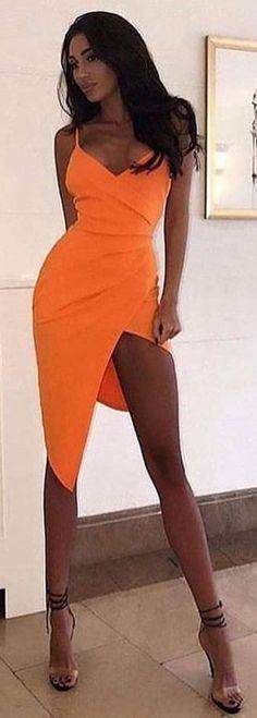 #spring #outfits orange spaghetti strap dress. Pic by @women_fashion.blog