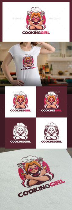 Cooking Girl Logo Template Vector EPS, AI Illustrator