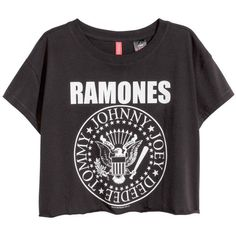 Ramones Cropped Top ($20) ❤ liked on Polyvore featuring tops, shirts, crop tops, t-shirts, black, crop top, black cotton shirt, black cotton top, black shirt and black top